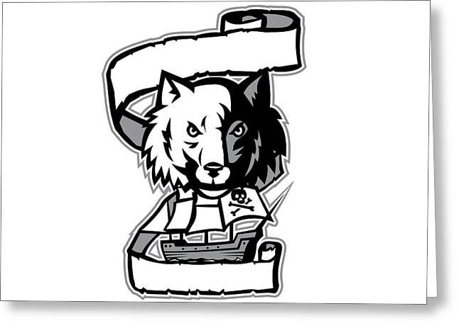 Wolf Head Pirate Ship Scroll Retro Greeting Card