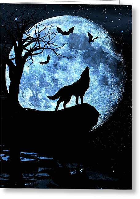 Greeting Card featuring the photograph Wolf Howling At Full Moon With Bats by Justin Kelefas