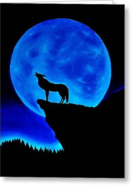 Wolf Howling  Greeting Card by Nicole  Cris