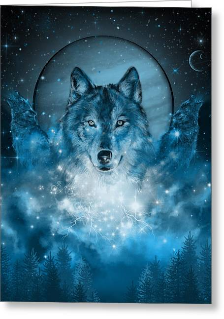 Wolf In Blue Greeting Card