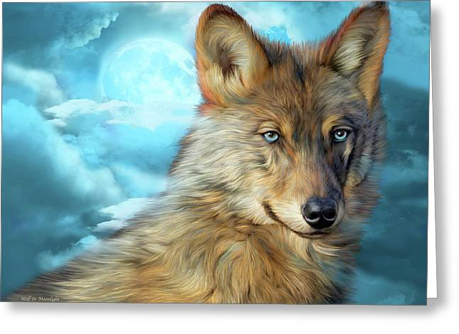Greeting Card featuring the mixed media Wolf In Moonlight 2 by Carol Cavalaris