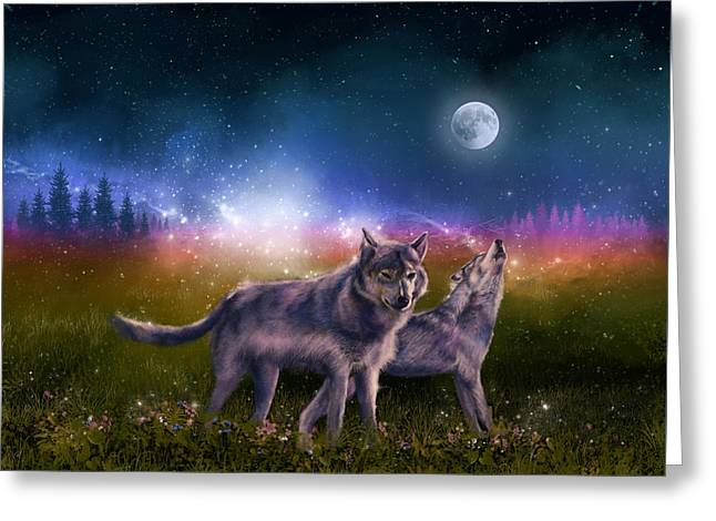 Wolf In The Moonlight Greeting Card