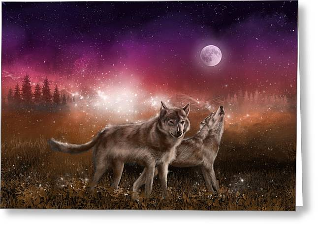 Wolf In The Moonlight Red Greeting Card