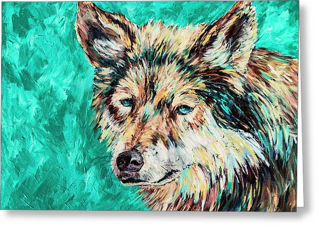 Wolf In Turquoise Greeting Card