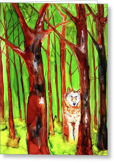 Wolf In Woods Greeting Card