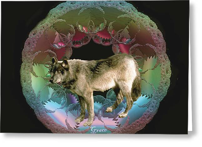 Wolf Greeting Card by Julie Grace