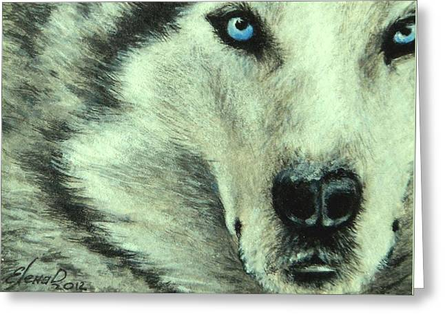 Wolf Greeting Card by Lena Day