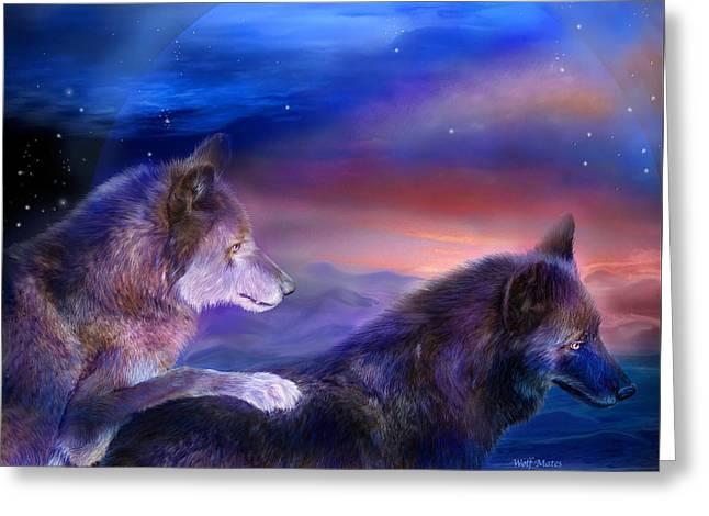 Wolf Mates Greeting Card by Carol Cavalaris