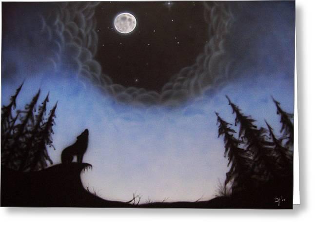 Wolf Moon Greeting Card by Devaron Jeffery