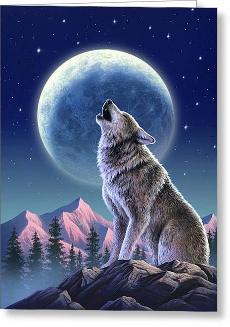 Wolf Moon Greeting Card