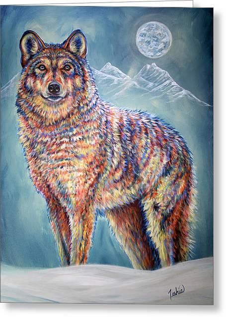Wolf Moon Greeting Card by Teshia Art