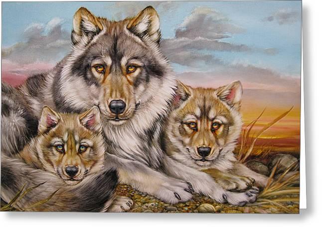 Wolf Nap Greeting Card by Martin Katon