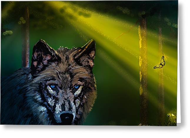 Wolf Of The Dark Wood Greeting Card