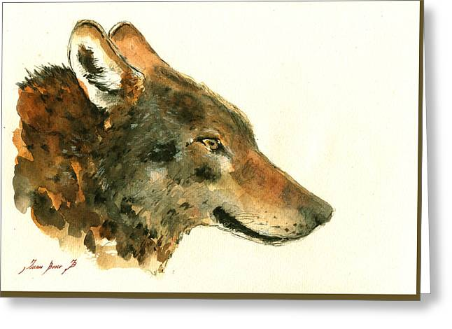 Wolf Portrait Greeting Card by Juan  Bosco
