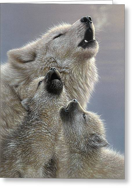 Wolf Pups Howling - Singing Lesson Greeting Card
