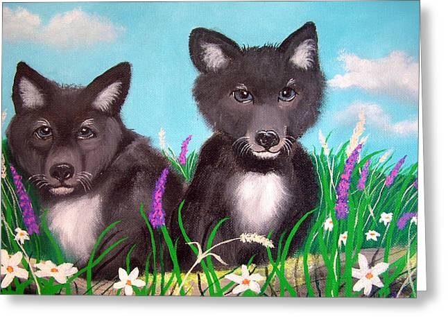 Wolf Pups Greeting Card by Nick Gustafson