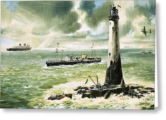 Wolf Rock Lighthouse At Land's End Greeting Card