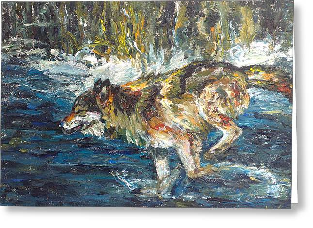 Greeting Card featuring the painting Wolf Running by Koro Arandia