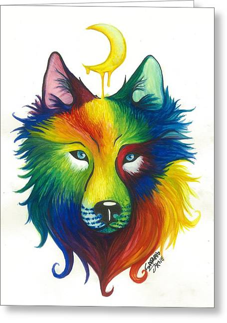 Wolf Spirit Greeting Card by Sarah Jane