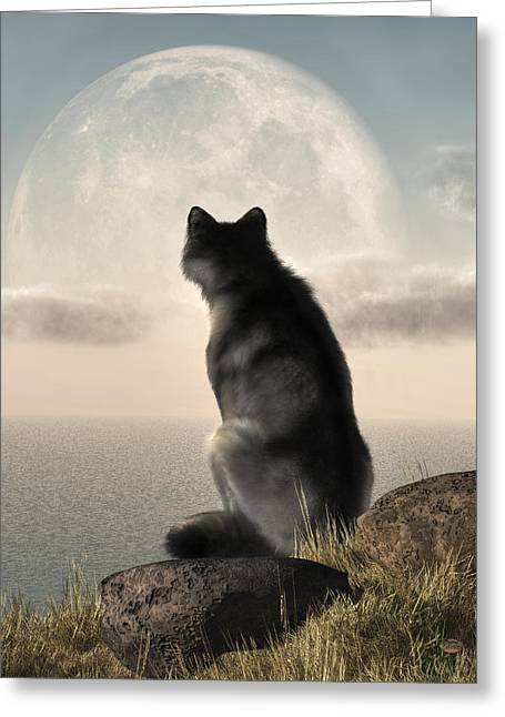 Wolf Watching The Moonrise Greeting Card by Daniel Eskridge