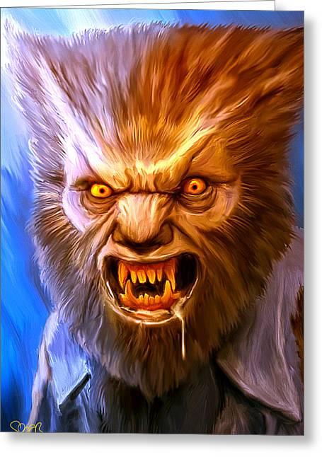 Wolfman Mark Spears Monsters Greeting Card by Mark Spears