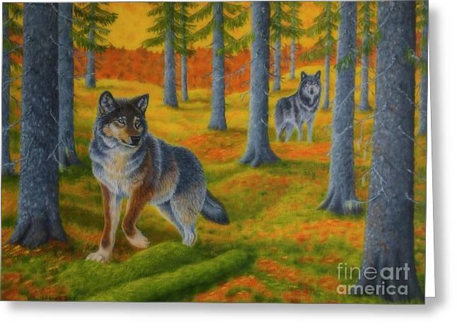 Wolf's Forest Greeting Card by Veikko Suikkanen
