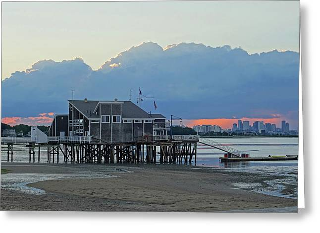 Wollaston Beach Quincy Ma Sunset Boston Skyline Quincy Ma Greeting Card