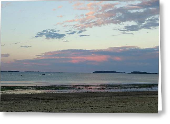 Wollaston Beach Sunset Quincy Ma Red Sky Greeting Card
