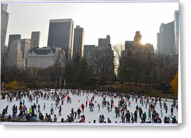 Wollman Ice Skating Rink At Central Park Greeting Card by Sonali Gangane