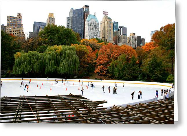 Wollman Rink And Central Park South Greeting Card by Christopher Kirby