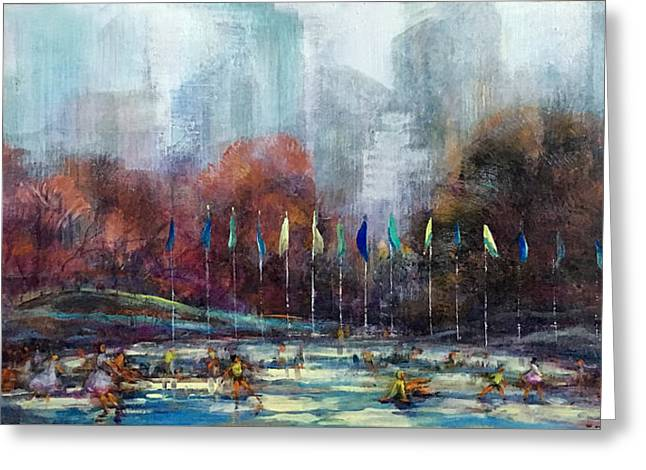 Wollman Rink Central Park New York City Greeting Card by Hall Groat Sr