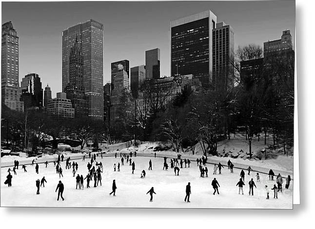 Wollman Rink Skaters Greeting Card by Rich Despins