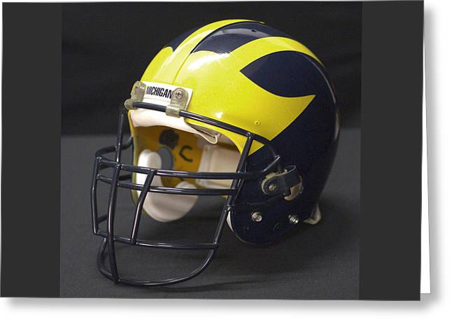 Greeting Card featuring the photograph Wolverine Helmet From The 1990s by Michigan Helmet