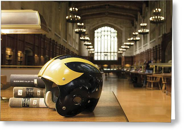 Greeting Card featuring the photograph Wolverine Helmet In Law Library by Michigan Helmet