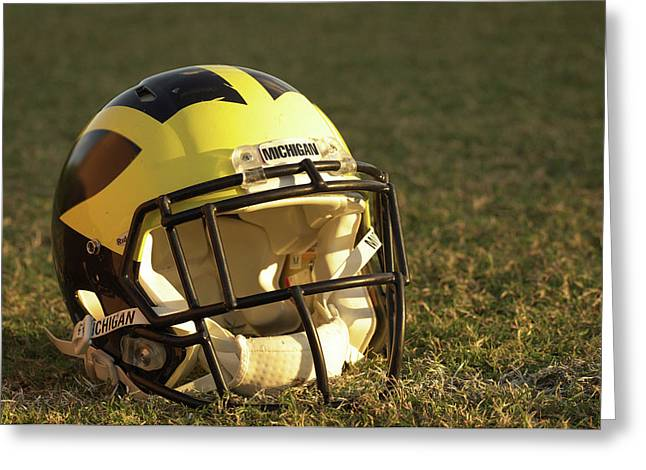 Greeting Card featuring the photograph Wolverine Helmet In Morning Sunlight by Michigan Helmet
