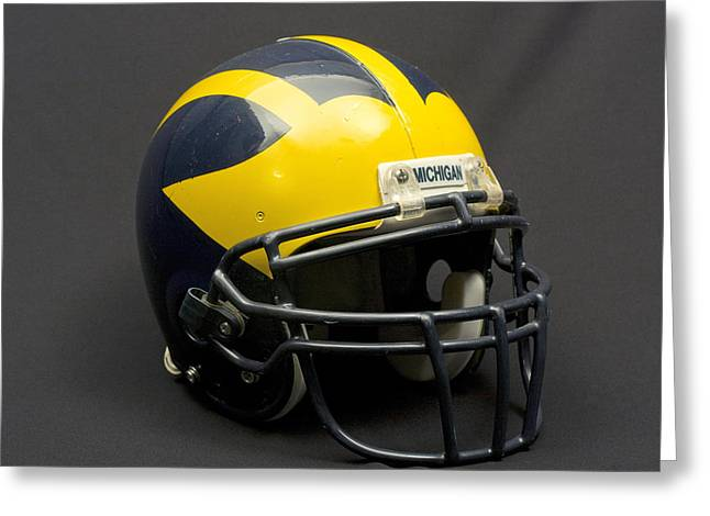 Greeting Card featuring the photograph Wolverine Helmet Of The 2000s Era by Michigan Helmet