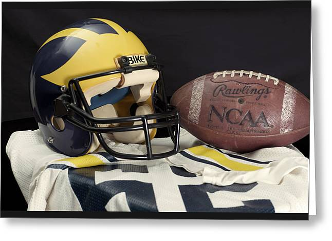 Wolverine Helmet With Jersey And Football Greeting Card