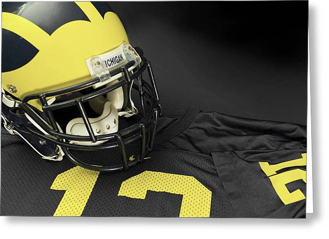 Wolverine Helmet With Jersey Greeting Card