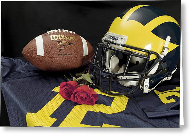 Wolverine Helmet With Roses, Jersey, And Football Greeting Card