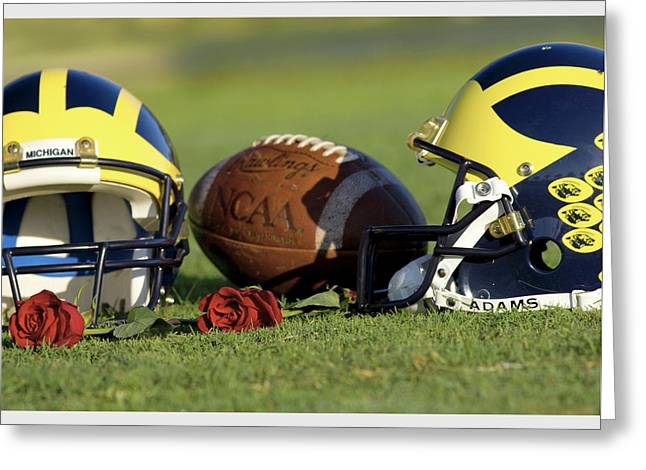 Greeting Card featuring the photograph Wolverine Helmets And Roses by Michigan Helmet
