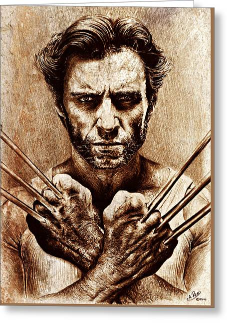 Wolverine Sepia Mix Greeting Card by Andrew Read