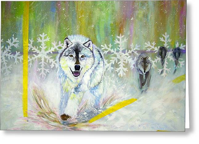 Wolves Approach Greeting Card