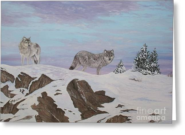 Wolves At Twilight Greeting Card
