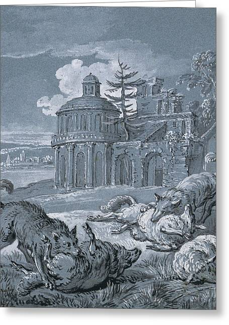 Wolves Attacking Sheep Greeting Card by Jean-Baptiste Oudry