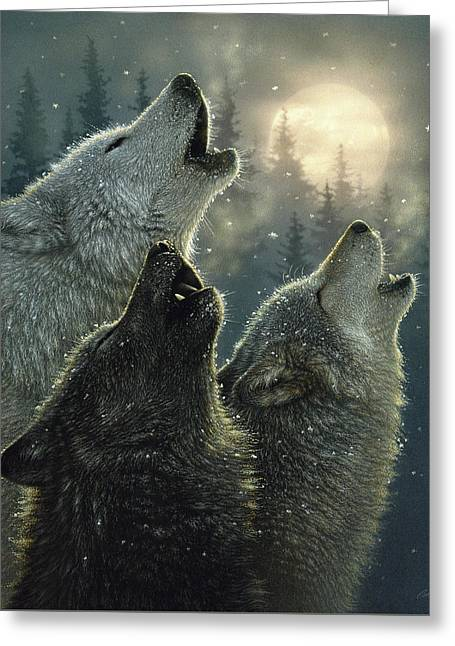Wolves Howling Moon - In Harmony Greeting Card