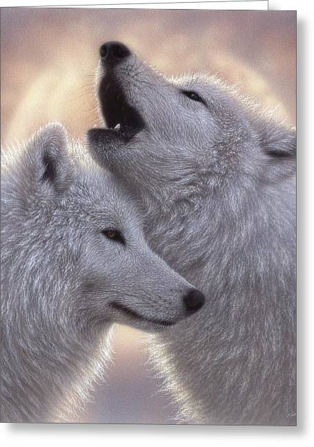 Wolves Howling Moon - Love Song Greeting Card