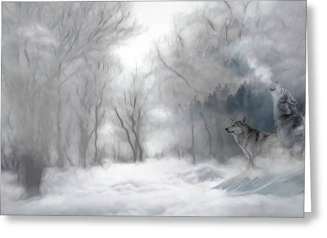 Wolves In The Mist Greeting Card