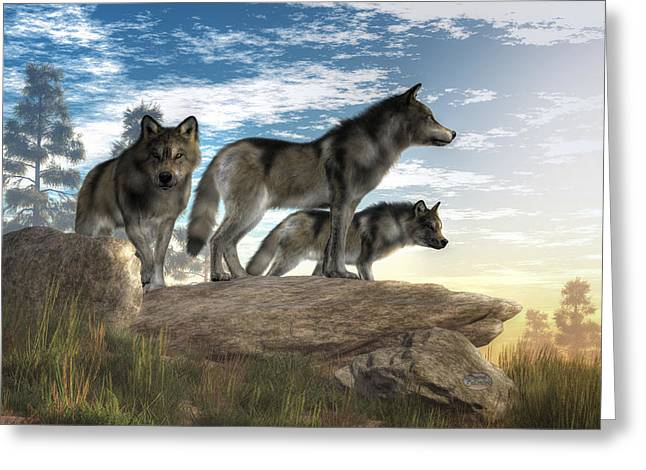 Wolves On The Hunt Greeting Card