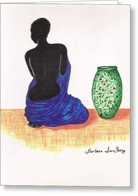 Woman And A Ginger Jar Greeting Card by Bee Jay