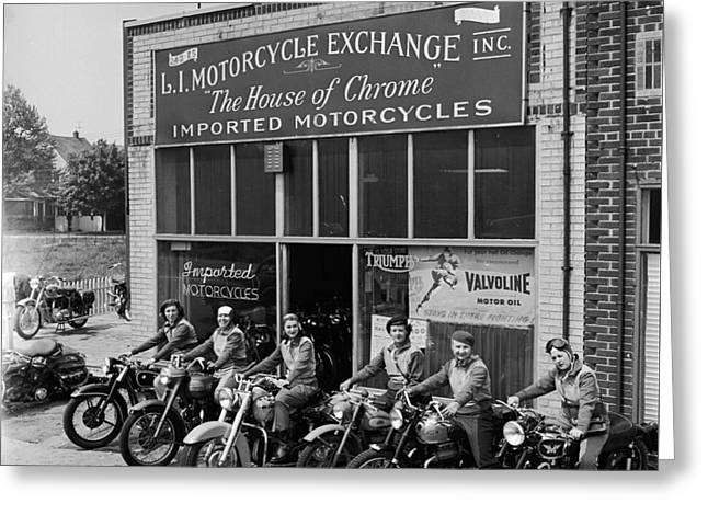 The Motor Maids Of America Outside The Shop They Used As Their Headquarters, 1950. Greeting Card